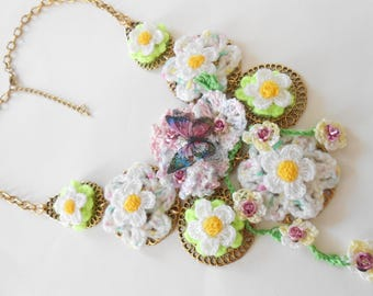 1 in cottons and butterflies flowers bib necklace.