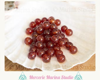 5 natural 10mm carnelian beads - beads semi precious