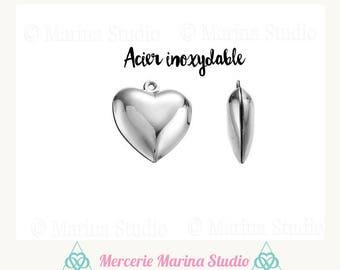 5 pendants heart steel stainless 18mm