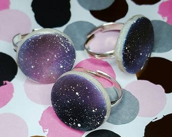 Ring galaxy adjustable Galaxy for trendy purple Pearl universe women teenager