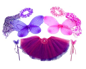 7pc Hot Pink & Purple Fairy Princess Costumes with Reversible Tutu PLUS GIFT BAG