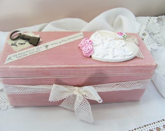 Wooden box - box wooden box jewelry storage - shabby chic, romantic country Style.