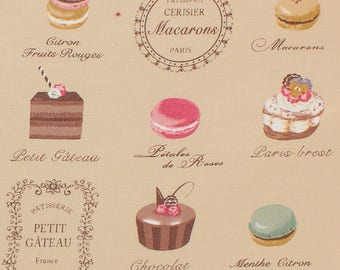 Fabric yuwa macarons beige background pink - 20 centimeters