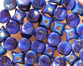 set of 10 blue printed colorful stars