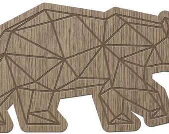 BEAR - ORIGAMI - laser cut wood - brooch