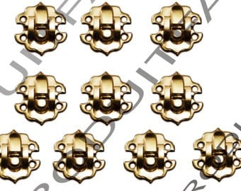 Set of 10 clasps Laitone latch lock box treasure chest box 30 by 30 mm screw included