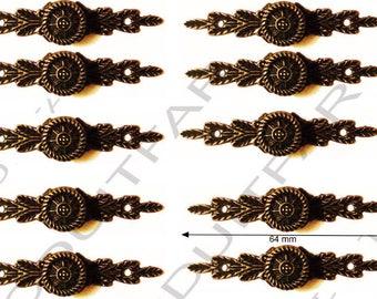 Set of 10 handle button color Bronze darkened filing drawer cabinet de craft locker 64 x 14 mm