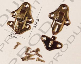 Set of 4 clasps latch lock to close your box jewelry box casket 32 X 23 mm screws included