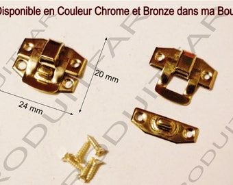 Set of 10 clasps gold latch lock box treasure chest box 24 22 screws included