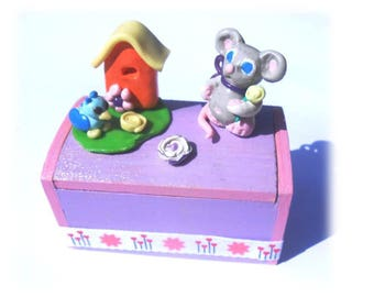 box wood with surprise decoration fimo sisters milk teeth and his bird friend