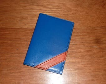 orange and electric blue leather Passport case