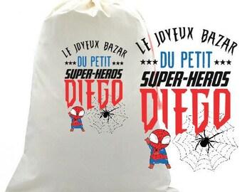 """BAG of storage """"joyful Bazaar de(delesde) small (s) super (s) hero"""" personalized"""