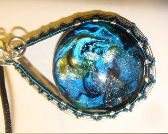 Blue Teardrop Starburst Necklace