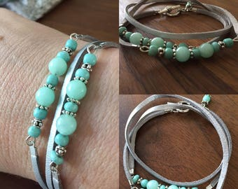 Wrap bracelet with Mint Green Jade