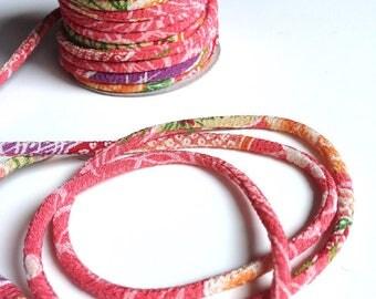 Japanese cords 2mm, Chirimen, flowers, pink (C3137-2)