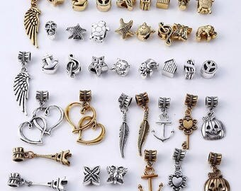 40pcs/lot Mixed Beads Fit Pandora Charms DIY Charms Spacer Beads & Jewelry Making