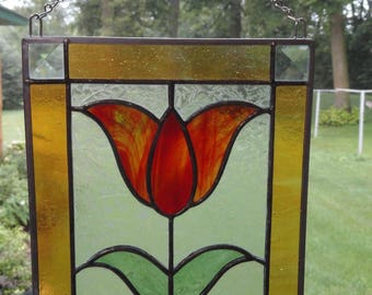 Stained Glass Tulip Flower Suncatcher, Orange/Yellow