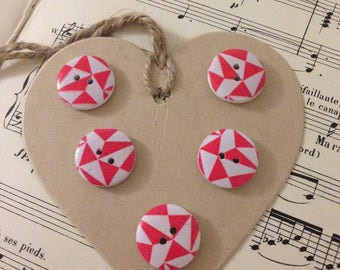 SET of 5 buttons wood figures geometric Red
