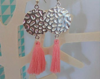 loop earrings hammered round connector and light pink tassel