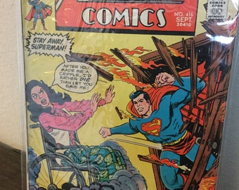 Action Comics #416 - Vintage DC Comics Silver Age Superman Comic from 1972 in Very Fine condition!