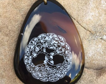 Tree of Life Engraved Agate Pendant
