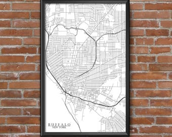 Buffalo, New York Map Art