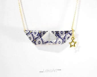 Gold plated. Necklace Origami boat in blue and gold Japanese washi paper.