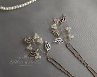 Silver Leaf Bridal Hair Pins, Bridal pins, Bridesmaid pins, Wedding hair pins