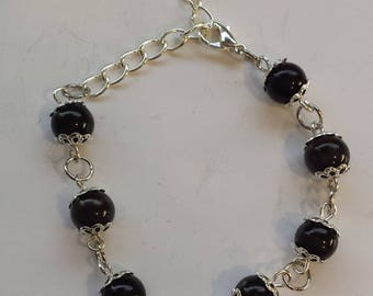 BLACK CAT'S EYE GLASS PEARL BRACELET
