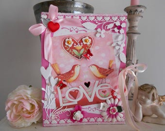 """Valentine's Day card, """"happiness is like a bird, he wondered where he wants."""""""