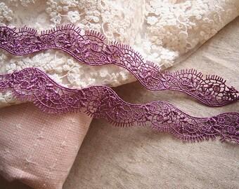 beautiful pinkish purple magenta 2.6 cm guipure lace trim