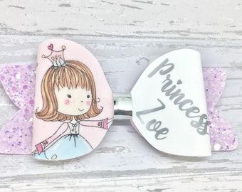 Personalised hair bow, personalised princess bow, pink glitter bow, girls princess gift, princess hair