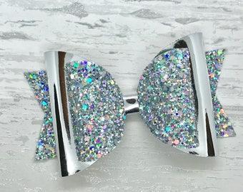 Holographic glitter hair bow, stunning hair bow, silver hair clip, sparkly hair bow, statement hair bow, girls birthday gift