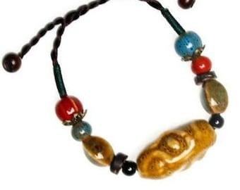 Yellow Ceramic And Hemp Cord Adjustable Bracelet