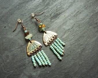 Small enameled copper chandelier earrings jellyfish