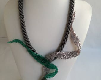 Braid handmade necklace with agate gemstone and beads.