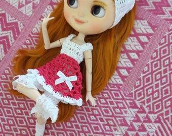 Blythe - vestito cotone con pantaloncini cotone e pizzo fascia x capelli e calzine Sangallo e pizzo in regalo