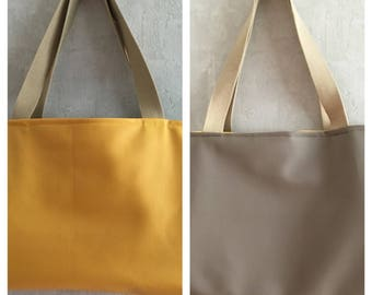 Faux leather reversible Tote