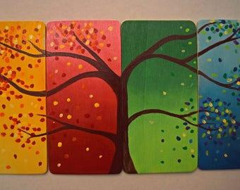 Four Seasons Painted Wood Panel
