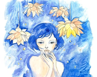 Blue Haired Girl Painting with Flowers