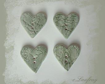 Set of 4 buttons, light green heart ceramic