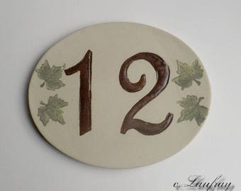 Door number, original oval shape, number 12 deco Ivy leaves