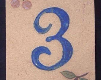 Door number, number 3, deco cherries frost resistant stoneware