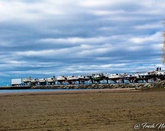 Landscape Photography Lighthouse Boats Blue Sky Print