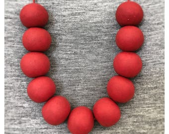 Cherry Red Polymer Clay Necklace