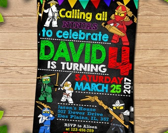 Ninjago Birthday Party, Ninjago Party Invitation, Nonjago Birthday, Ninjago birthday, Lego ninjago Printable