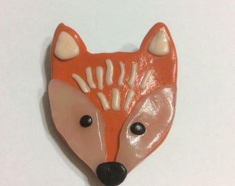 Polymer clay fox face brooch