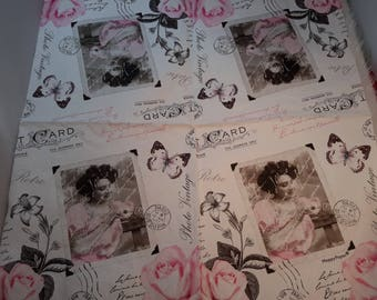 Set of 2 vintage photo depicting paper napkins