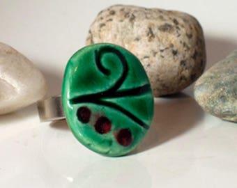 New style, glazed ceramic Ring