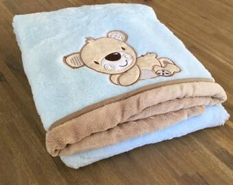Thick fleece blanket blue bear - 75 x 100